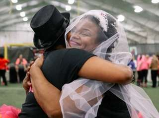 Brides and bridesmaids compete as teams in the
