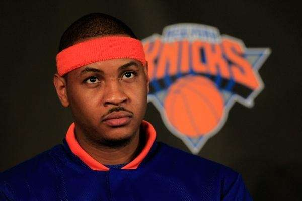 Carmelo Anthony is introduced as a member of