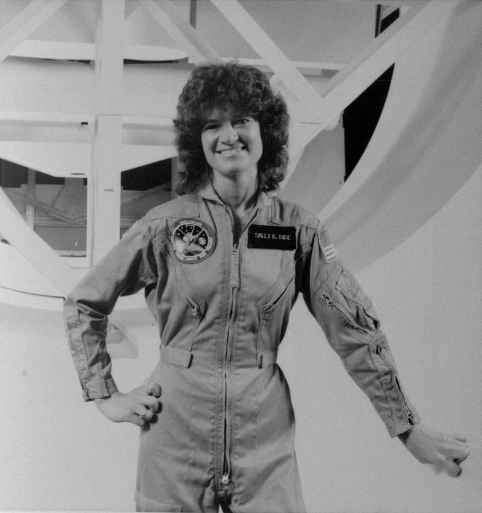 Sally Ride, shown in a NASA portrait, became