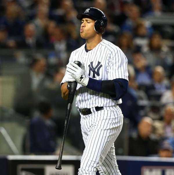 Alex Rodriguez strikes out in the fourth inning