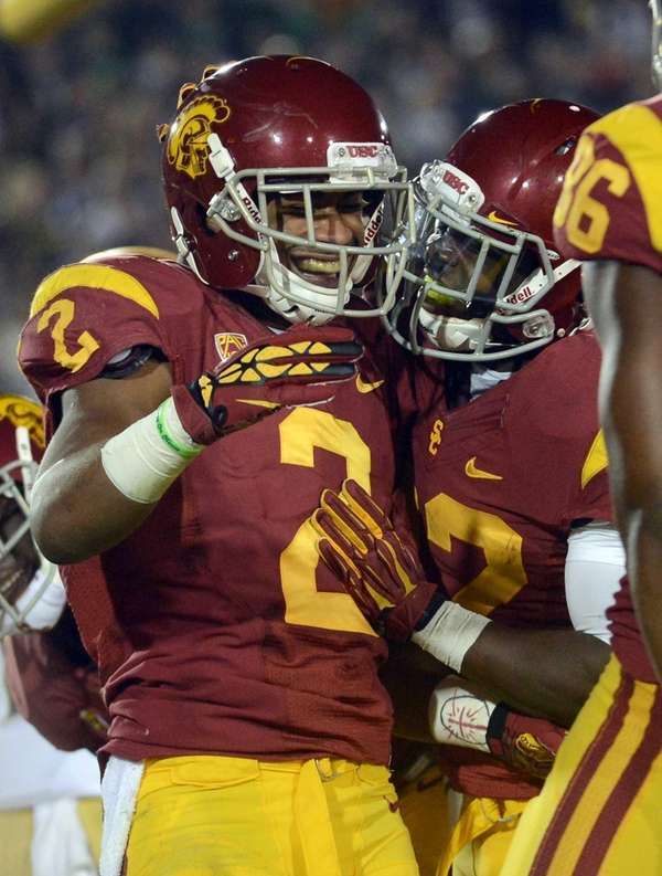 Robert Woods of the USC Trojans celebrates his