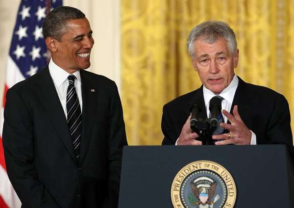 Former U.S. Sen. Chuck Hagel speaks after President