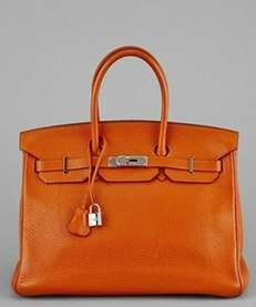 This vintage Hermes Potiron Clemence leather Birkin bag,