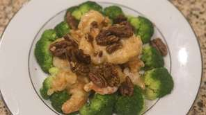 The walnut shrimp dish is beautifully rendered at