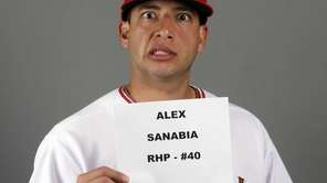 Los Angeles Angels' Alex Sanabia poses for a