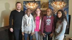 Ricky Gervais with Kidsday reporters Ty McKenzie, Olivia