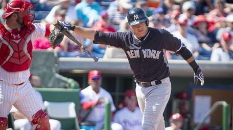 New York Yankees' Austin Romine strikes out in
