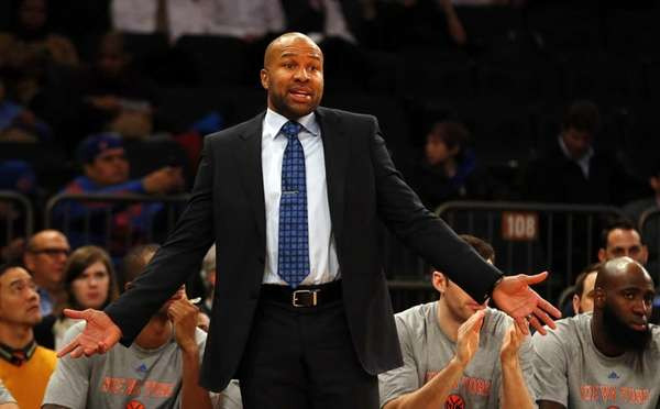 Derek Fisher of the New York Knicks reacts