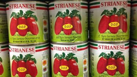 Large cans of imported Strianese tomatoes are among