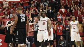 Stony Brook Seawolves forward Jameel Warney reacts with