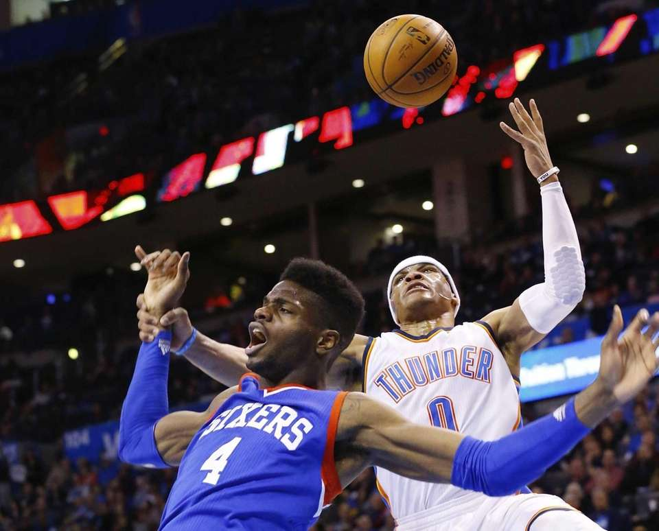 Philadelphia 76ers center Nerlens Noel (4) loses the