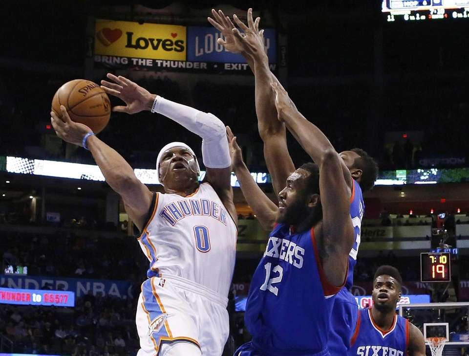 Oklahoma City Thunder guard Russell Westbrook (0) shoots