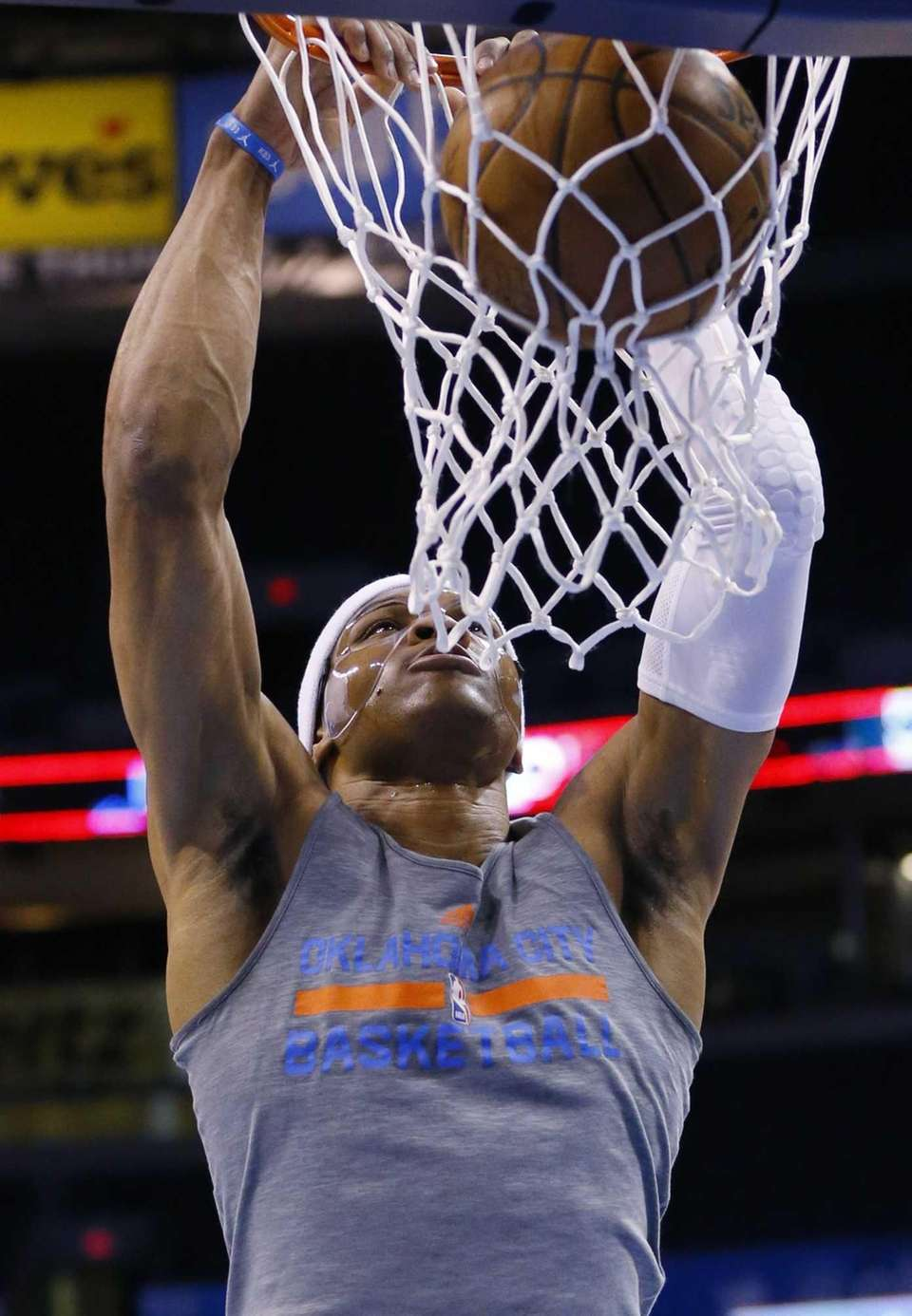 Oklahoma City Thunder guard Russell Westbrook dunks during
