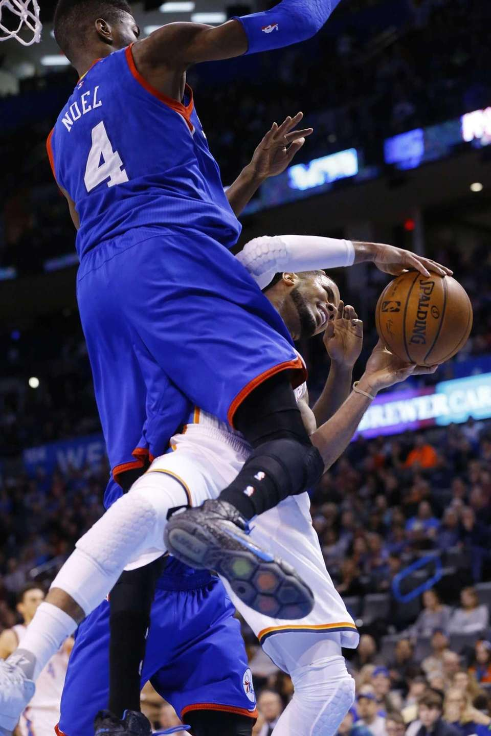 Oklahoma City Thunder guard D.J. Augustin, right, becomes
