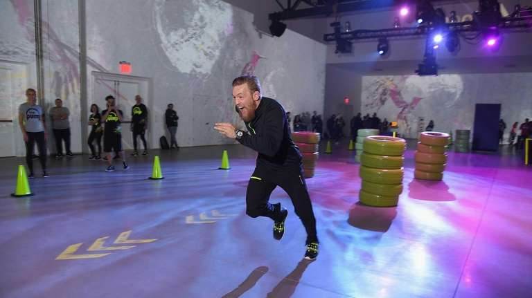UFC fighter Conor McGregor tests a pair of
