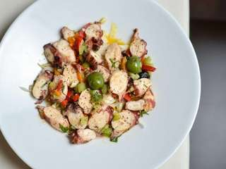 Grilled octopus tossed with endive, celery and roasted