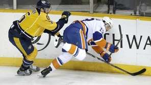 Nashville Predators defenseman Shea Weber checks New York