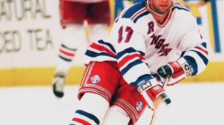 Peter Ferraro of the New York angers skates