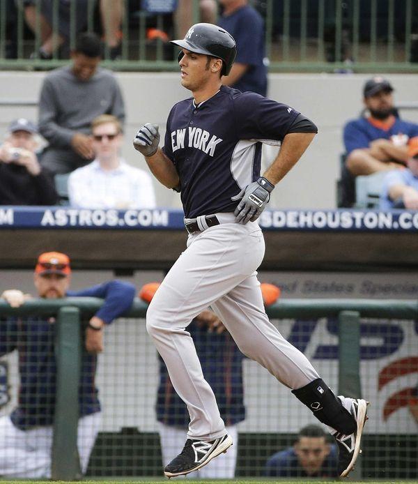 New York Yankees' Greg Bird rounds the bases
