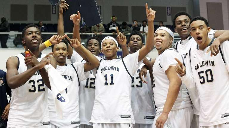 Baldwin celebrates its win over Uniondale in