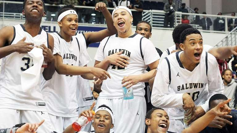Baldwin celebrates its win over Uniondale in the