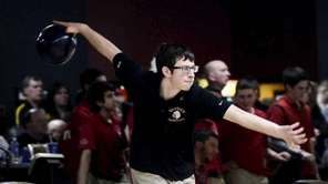 East Islip's Nick DeFazio bowls during the NYSPHSAA