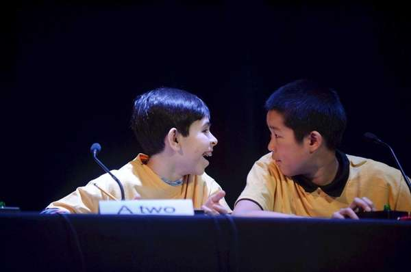 Students Louis Viglietta, 13, left, and Gabe Chan,