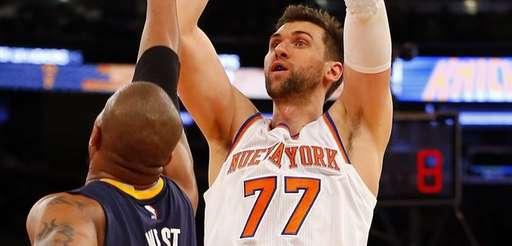 Andrea Bargnani #77 of the New York Knicks