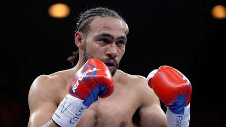Keith Thurman is seen with a welt after