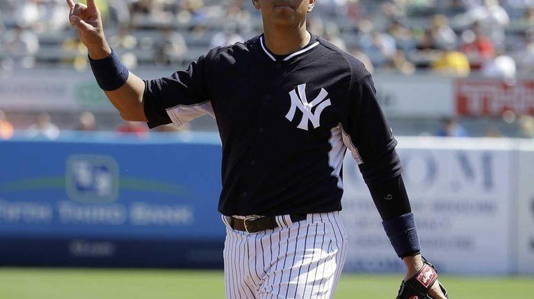 Yankees third baseman Alex Rodriguez gestures during a