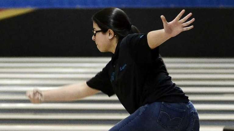 East Islip's Olivia Lopera bowls for Section 11