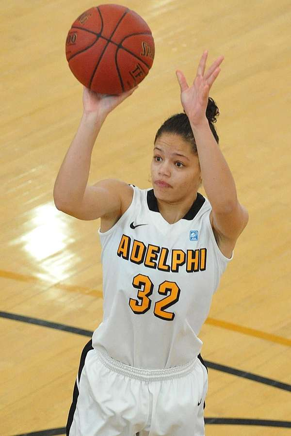 Adelphi University's Calli Balfour shoots a jumper during