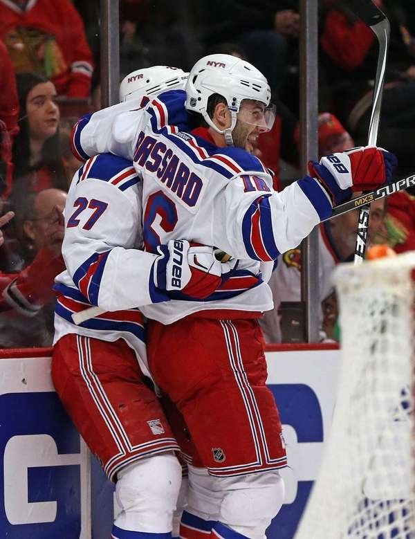 Derick Brassard of the New York Rangers celebrates