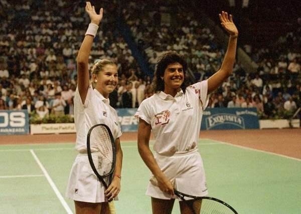 Tennis aces Monica Seles, 16, left, and Gabriela