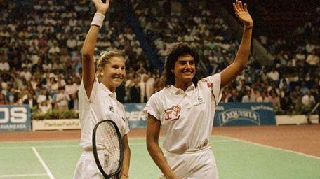 Tennis aces Monica Seles, 16, left, and Gabriela