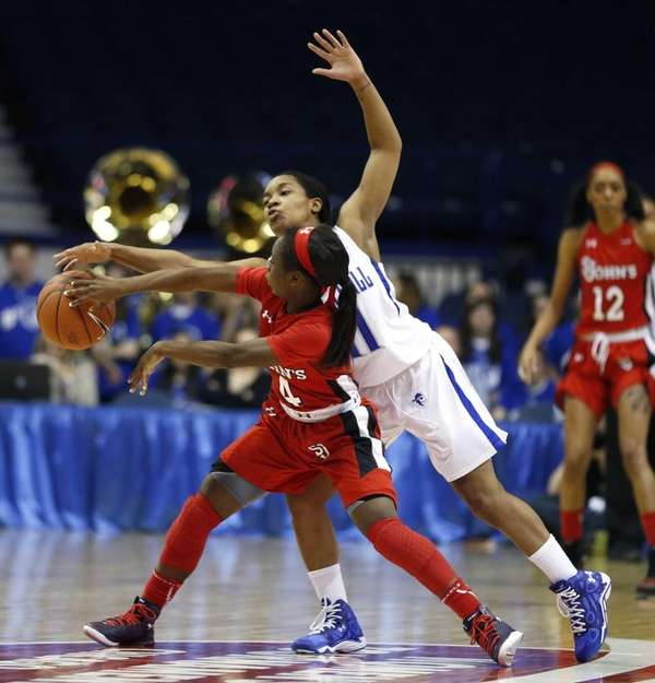 Seton Hall guard Ka-Deidre Simmons, right, pressures St.