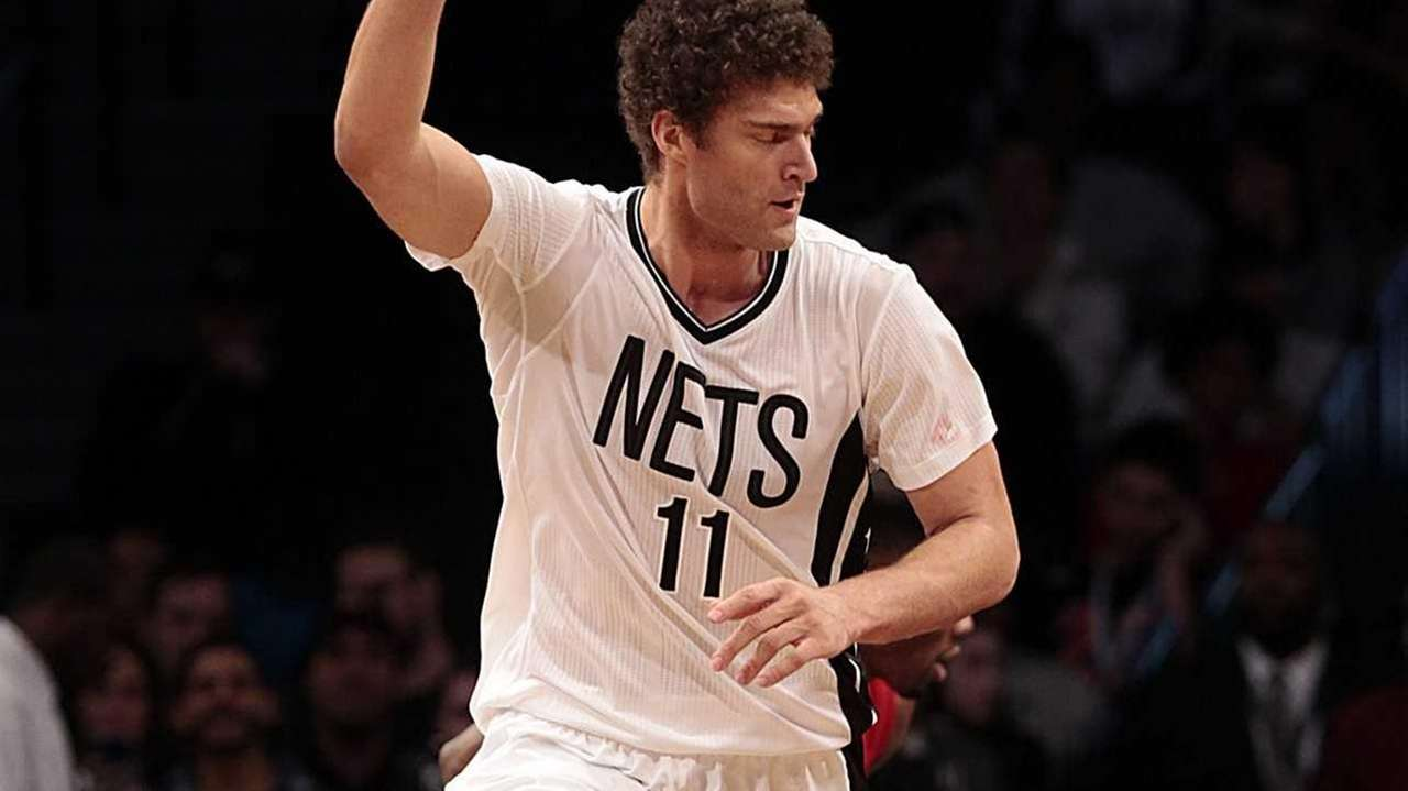 Brooklyn Nets center Brook Lopez reacts after a