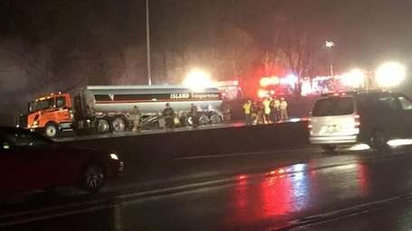 A tanker fire has closed all westbound lanes