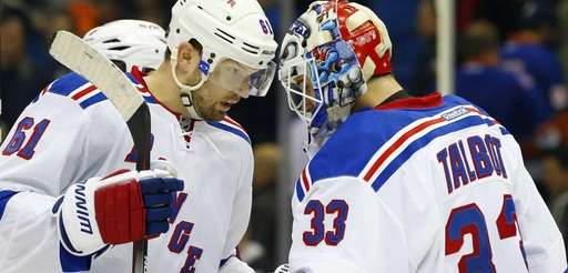 Rick Nash and Cam Talbot of the New