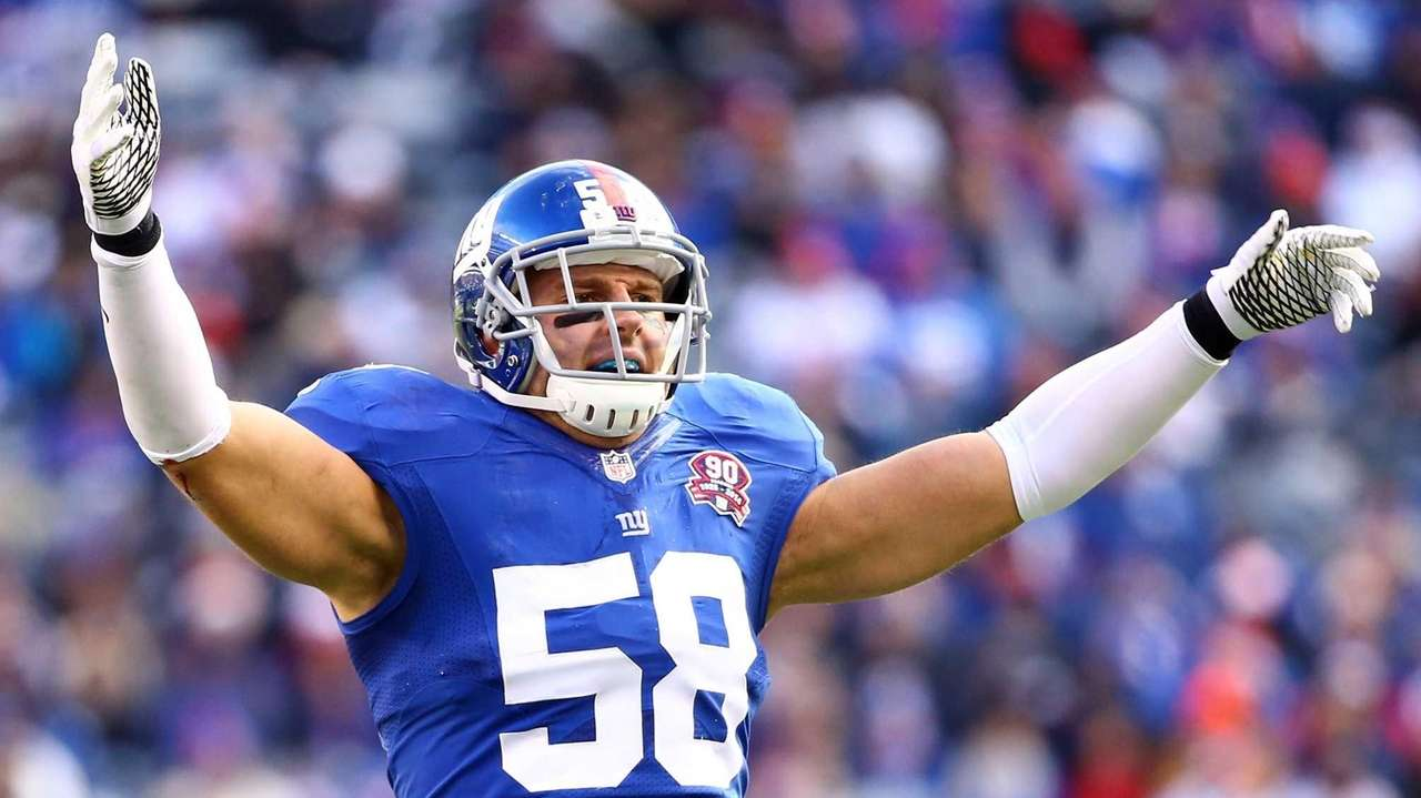 Mark Herzlich of the New York Giants celebrates