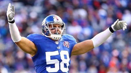 Mark Herzlich of the New York Giants celebrates