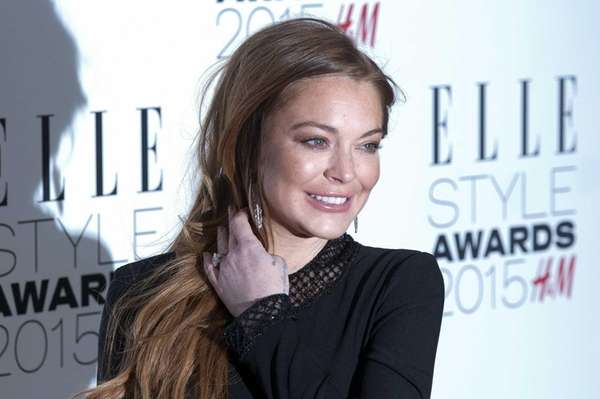 Lindsay Lohan arrives at the Elle Style Awards