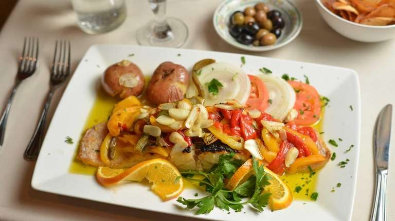 Bacalhau a Lagareiro, grilled cod with roasted peppers,
