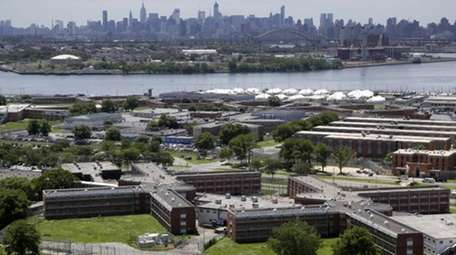 The Rikers Island jail complex stands in the
