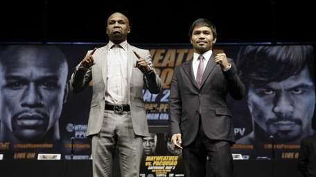 Boxers Floyd Mayweather Jr., left, and Manny Pacquiao,