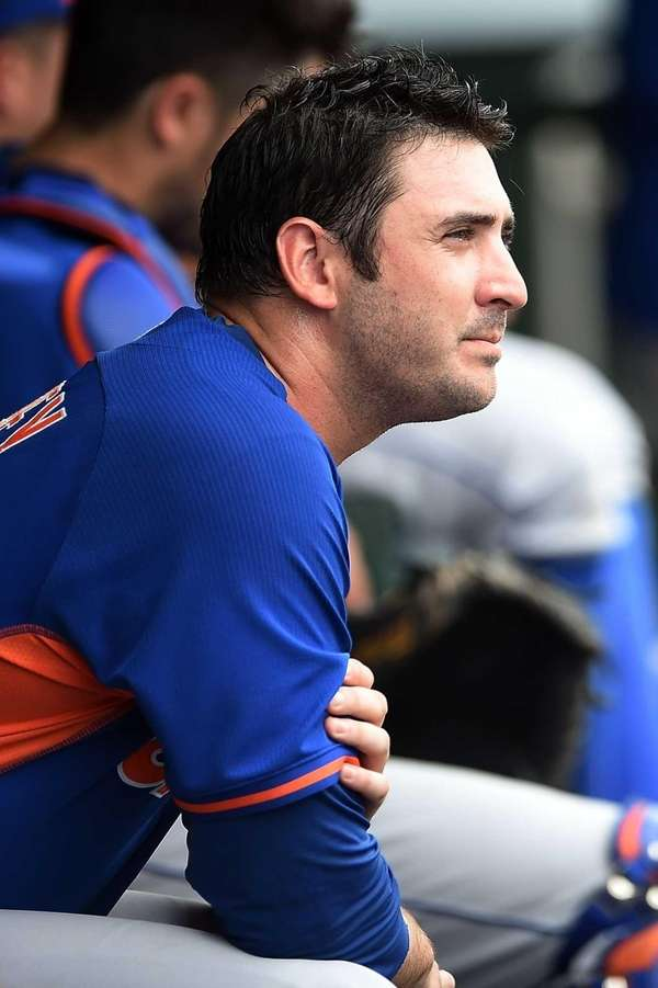 Matt Harvey of the New York Mets rubs
