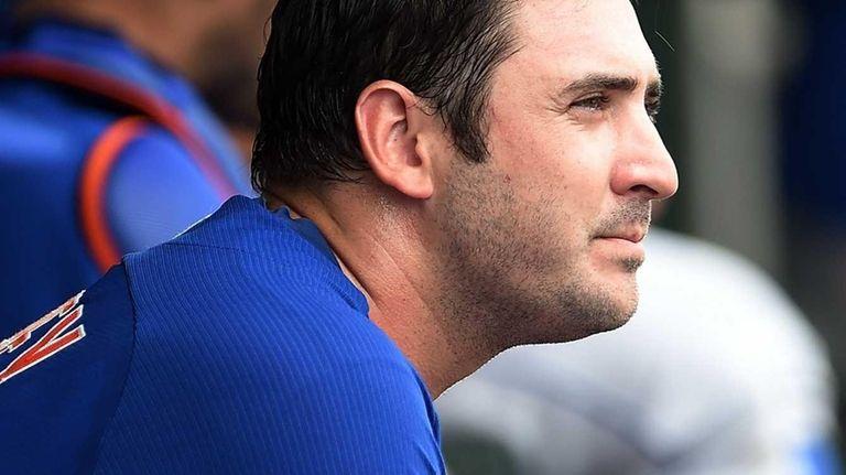 Matt Harvey of the New York Mets rubs