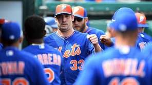 Matt Harvey of the New York Mets greets