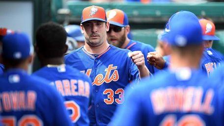Matt Harvey of the New York Mets greets