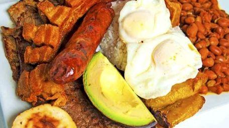 Bandeja paisa, at Port Washington's new Colombian restaurant